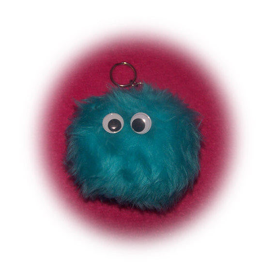 Fluffy fuzzy Monster pom pom ball keyring keychain teal neptune very cute - Poppys Crafts