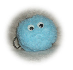 Baby Blue fleece monster pom pom key ring with googly eyes - Poppys Crafts