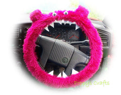Fluffy Pink Monster Car Steering wheel cover & fuzzy faux fur pink seatbelt pad set - Poppys Crafts  - 2