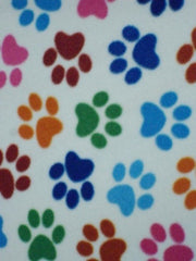 1 pair of fleece paw print car seatbelt pads white and black and multicolour - Poppys Crafts  - 4