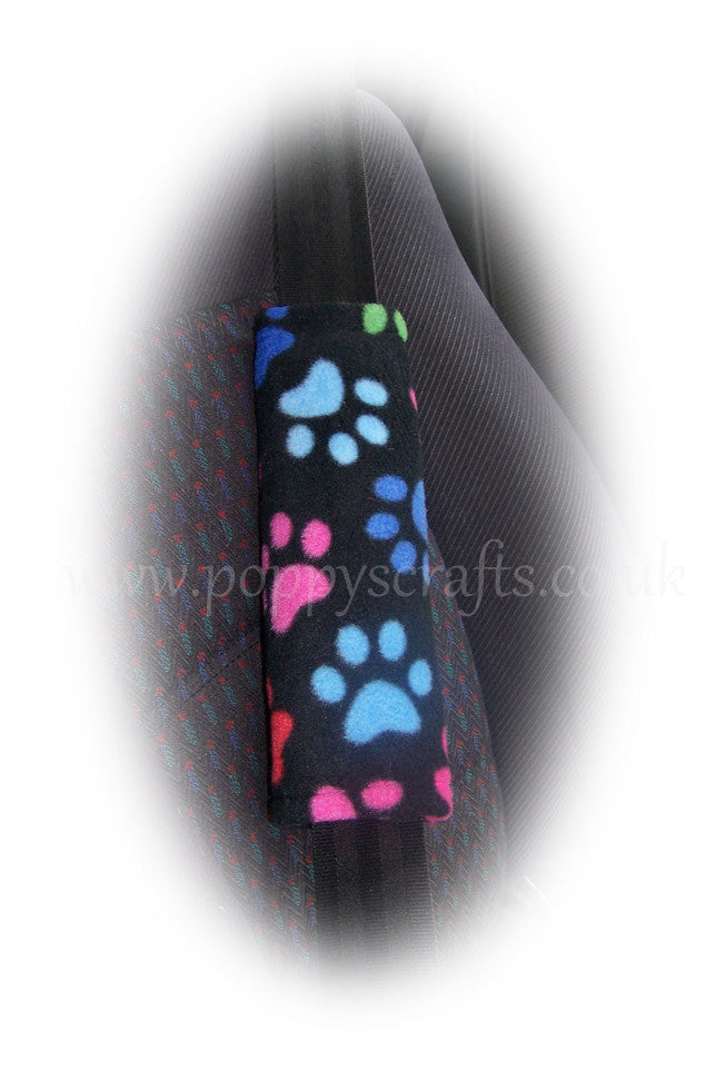 Black and multi-coloured paw print fleece car seatbelt pads 1 pair - Poppys Crafts