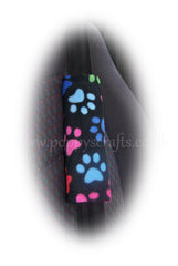 Black and Multi-coloured Paw print fleece steering wheel cover and seatbelt pads - Poppys Crafts