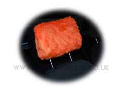 Tangerine Orange fluffy faux fur car headrest covers 1 pair - Poppys Crafts