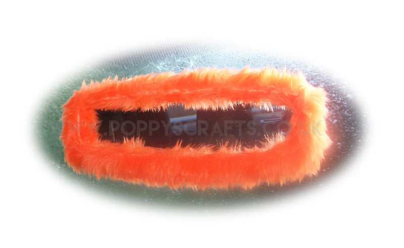 Tangerine Orange faux fur rear view interior car mirror cover - Poppys Crafts