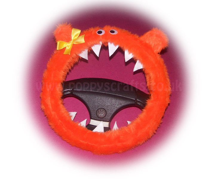 Fuzzy faux fur Tangerine Orange Monster steering wheel cover with cute yellow bow - Poppys Crafts