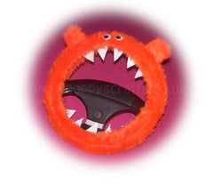 Fuzzy faux fur Tangerine Orange Monster steering wheel cover with googly eyes, ears, and teeth. fluffy furry car fun - Poppys Crafts  - 2