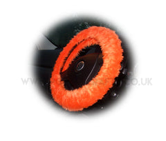 Bright Tangerine Orange Fuzzy faux fur car steering wheel cover - Poppys Crafts
