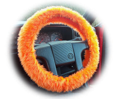 Tangerine Orange Car Steering Wheel Cover & Matching Fuzzy Faux Fur Seatbelt Pad Set Car Accessories