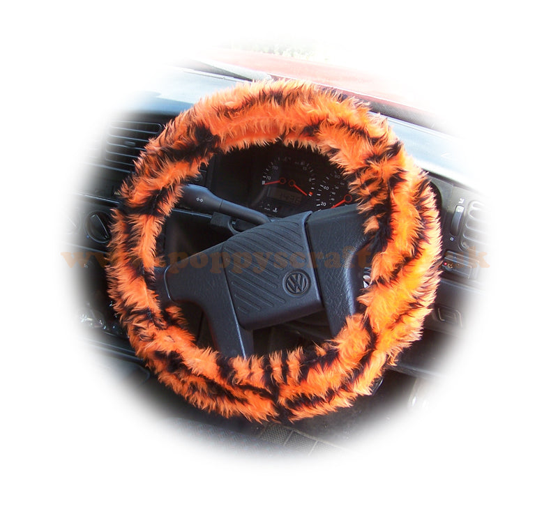 Orange and black tiger stripe fuzzy car steering wheel cover - Poppys Crafts
