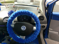 Royal Blue fuzzy car steering wheel cover