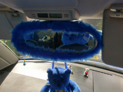 fuzzy faux fur rear view interior car mirror cover in choice of colour - Poppys Crafts