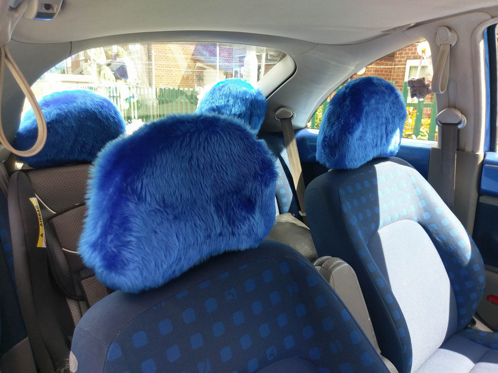 Royal Blue fluffy faux fur car headrest covers 1 pair - Poppys Crafts