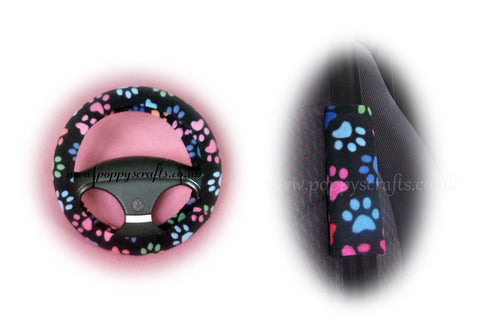 Black and Multi-coloured Paw print fleece steering wheel cover and seatbelt pads