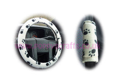 Paw Print Fleece Car Steering Wheel Cover & Matching Seatbelt Pad Set
