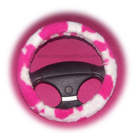 Pink and white Cow fuzzy faux fur car steering wheel cover