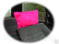 1 pair of Plain furry faux fur fluffy fuzzy plain car seat headrest covers choice of colour color pink black red yellow blue orange white - Poppys Crafts  - 2