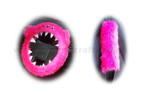 Fluffy Pink Monster Car Steering wheel cover & fuzzy faux fur pink seatbelt pad set
