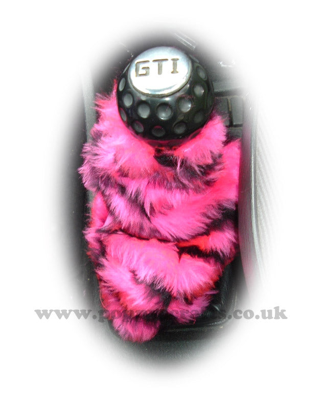 Pink And Black Tiger stripe faux fur fluffy gear stick gaiter cover - Poppys Crafts