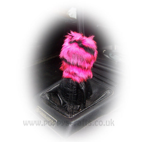 Fuzzy faux fur Pink tiger print Gearknob cover cute