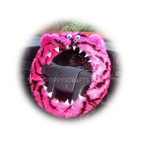 Pink and black Tiger stripe fuzzy Monster steering wheel cover