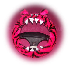 Pink and black Tiger stripe fuzzy Monster steering wheel cover - Poppys Crafts  - 2