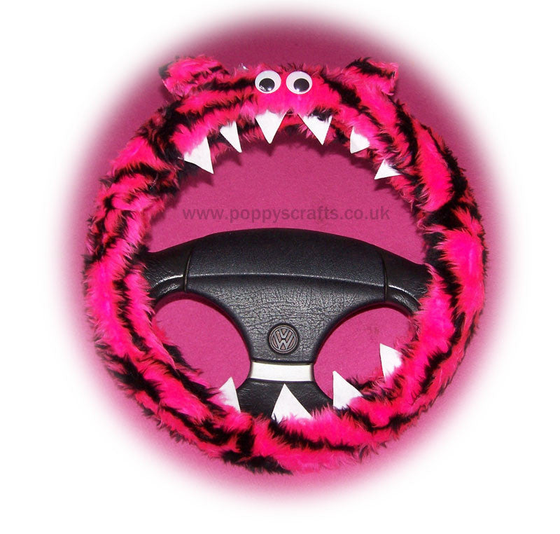 Pink and black Tiger stripe fuzzy Monster steering wheel cover - Poppys Crafts  - 1