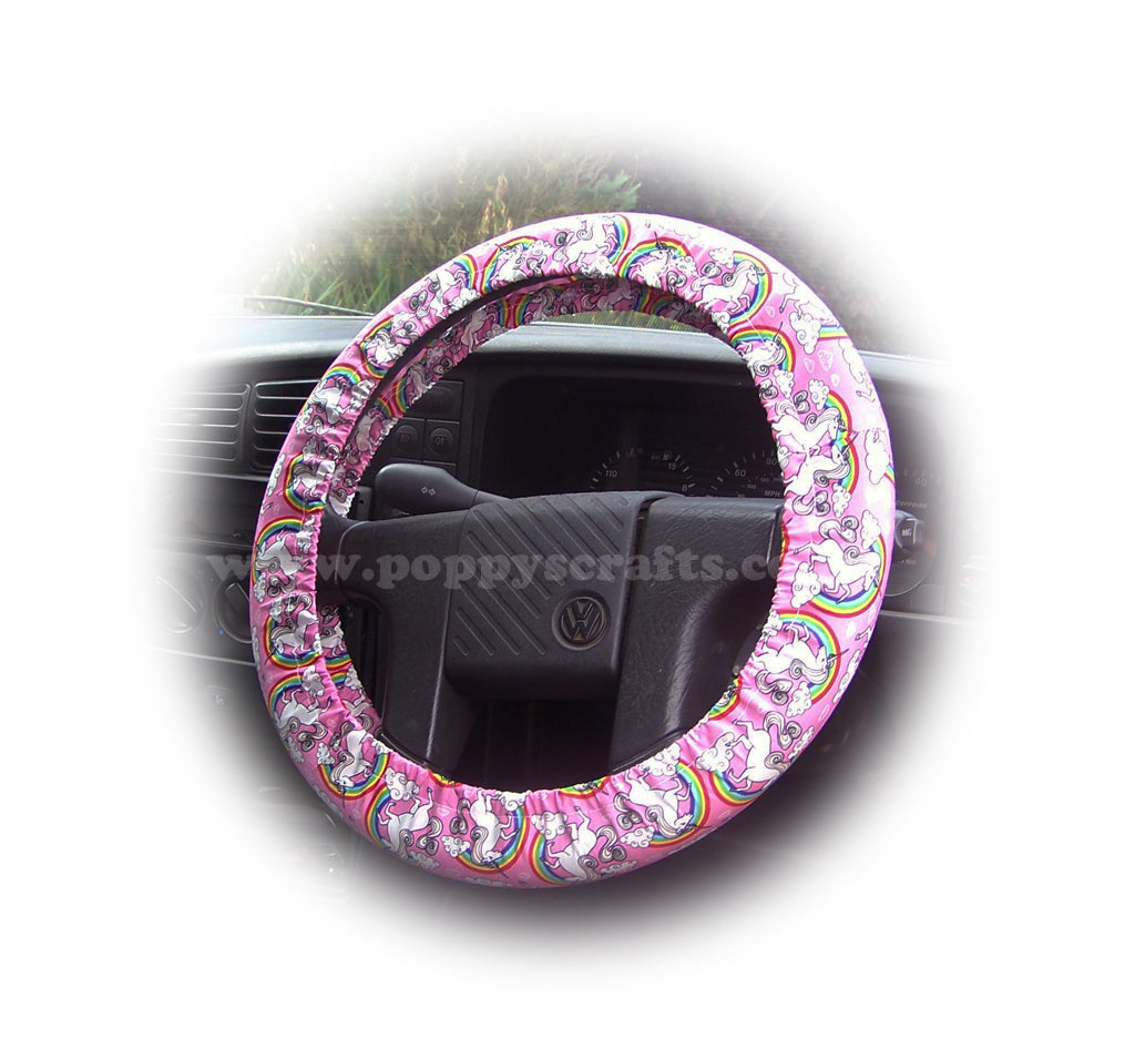 Unicorn's and Rainbow's on Pink cotton car steering wheel cover - Poppys Crafts