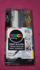 uni POSCA PC-1M extra fine Paint in a Pen Marker 4 Mono Tones Set - Poppys Crafts