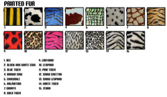 Large 7 Piece print fluffy car accessories set faux fur Choice of print
