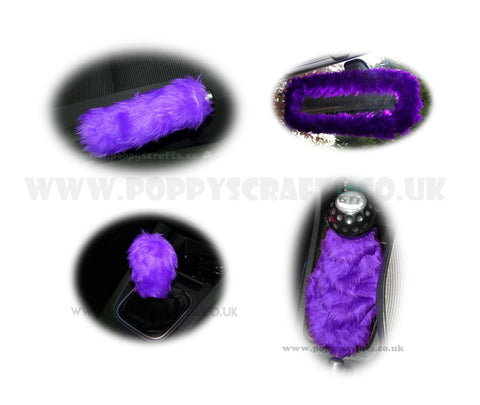 Gorgeous Purple fluffy faux fur car accessories 4 piece set