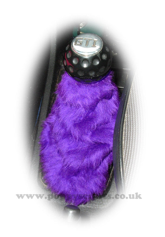 Dark Purple fuzzy faux fur gear stick gaiter cover - Poppys Crafts