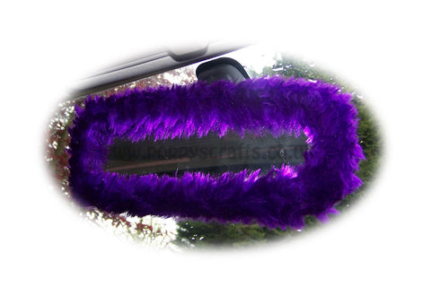 Purple faux fur fuzzy rear view interior car mirror cover