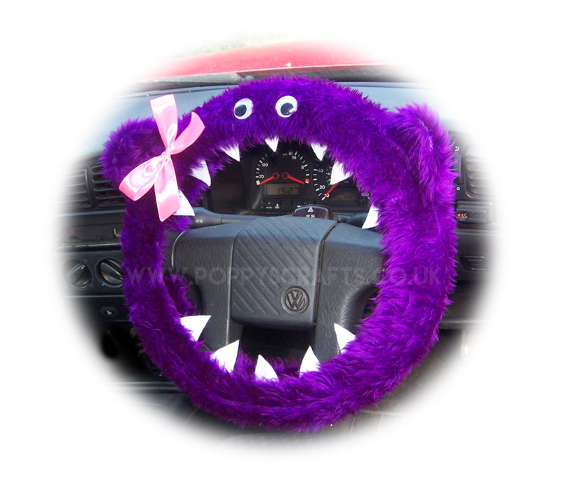 Fuzzy Purple faux fur monster car steering wheel cover with cute pink bow - Poppys Crafts