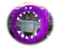 Fuzzy Purple Monster faux fur car steering wheel cover - Poppys Crafts