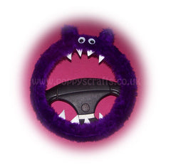 Fuzzy Purple Monster faux fur car steering wheel cover - Poppys Crafts  - 1