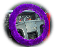 Fluffy Purple Car Steering wheel cover & matching fuzzy faux fur seatbelt pad set - Poppys Crafts