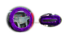 Dark Purple fuzzy steering wheel cover with cute matching rear view mirror cover - Poppys Crafts