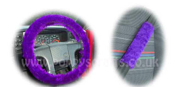 Fluffy Purple Car Steering Wheel Cover & Matching Fuzzy Faux Fur Seatbelt Pad Set