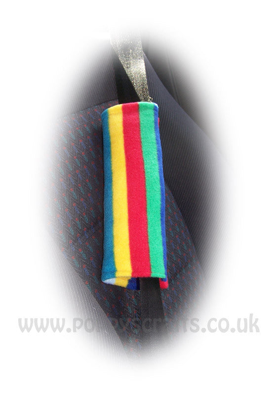 1 Rainbow Striped fleece shoulder strap pad - Poppys Crafts