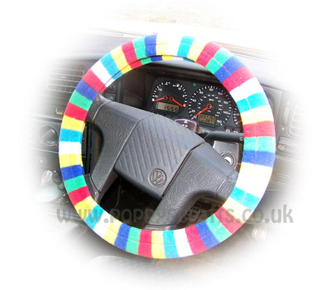 Gorgeous Bright Rainbow Striped fleece car steering wheel cover