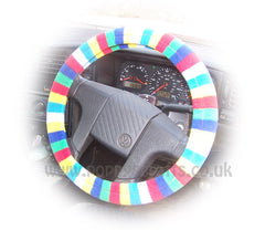 Gorgeous Bright Rainbow Striped fleece car steering wheel cover - Poppys Crafts  - 2