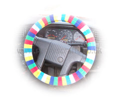 Rainbow Striped fleece steering wheel cover and matching Rainbow fleece seatbelt pads - Poppys Crafts