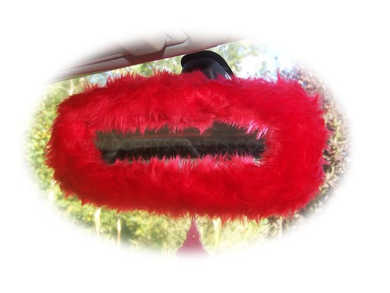 Racing red cute faux fur furry fluffy fuzzy rear view interior car mirror cover - Poppys Crafts