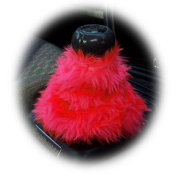 Racing Red fluffy fuzzy gear stick gaiter cover - Poppys Crafts