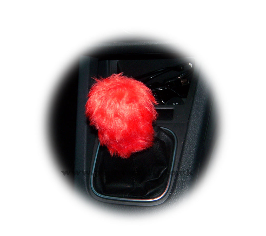 Racing Red fuzzy faux fur Gear knob stick shift cover - Poppys Crafts
