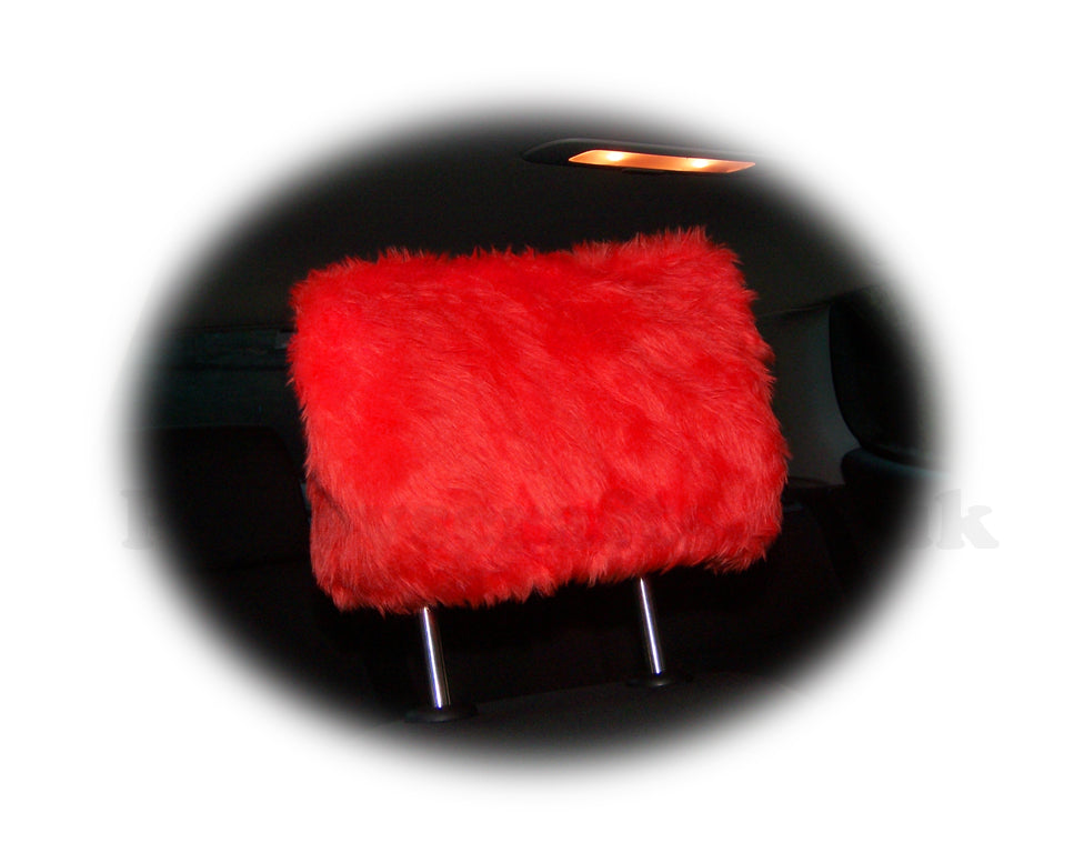 Racing Red fluffy faux fur car headrest covers 1 pair - Poppys Crafts