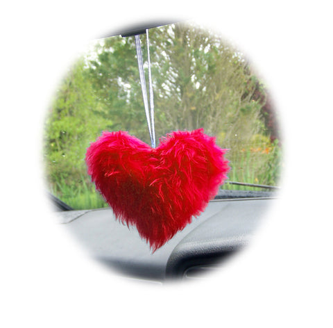 Pretty Red Fluffy faux fur heart mirror hanging