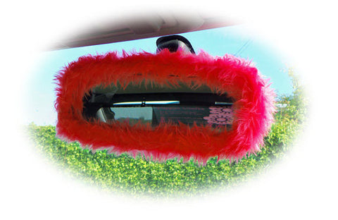 Racing red cute faux fur furry fluffy fuzzy rear view interior car mirror cover