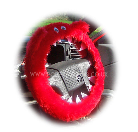 Fuzzy faux fur Red Monster steering wheel cover with googly eyes