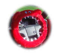 Fuzzy faux fur Red Monster steering wheel cover with googly eyes - Poppys Crafts